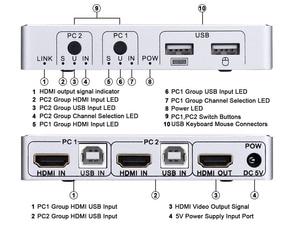 Image 3 - 2020 4K 60Hz KVM commutateur HDMI 2 ports HDMI KVM commutateur USB ordinateur KVM commutateur clavier souris commutateur boîte pour ordinateur portable, PS4,Xbox