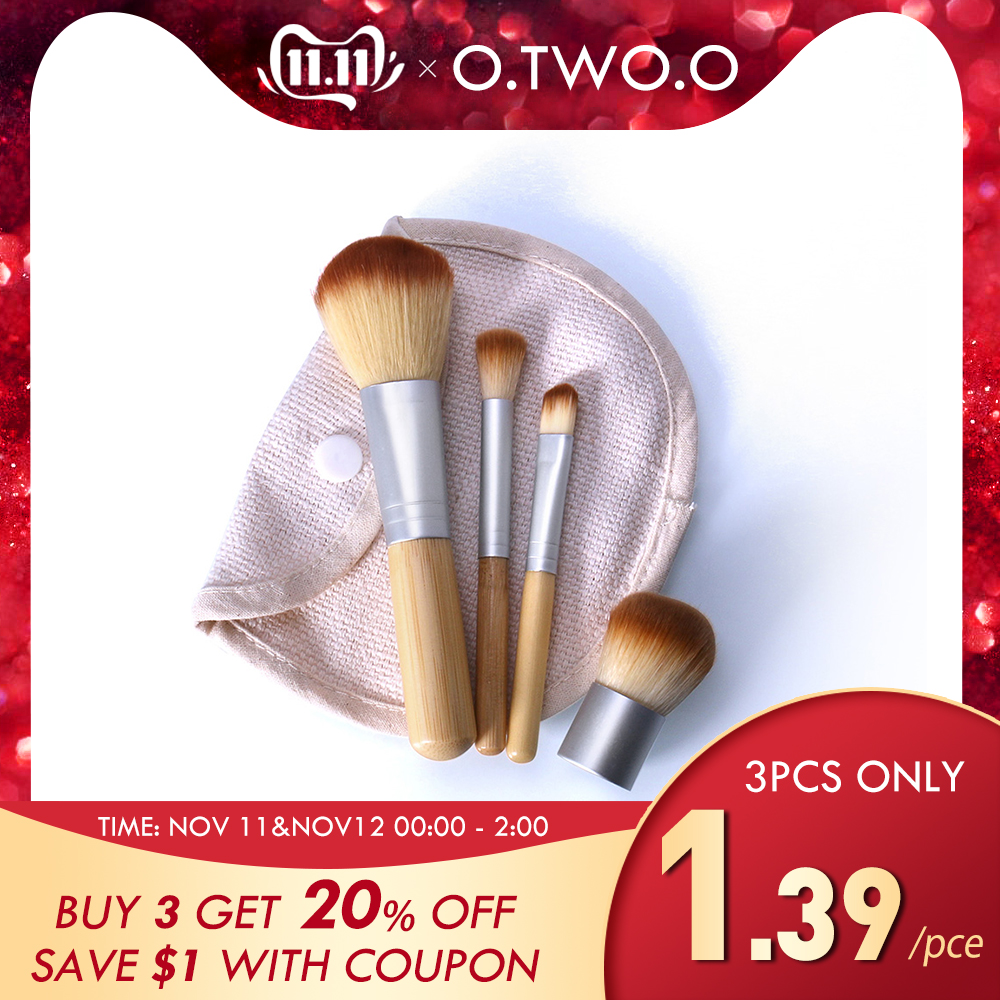 O.TWO.O 4 шт./лот Bamboo фундамент кисть make-up Кисти косметической пудра Кисть для макияжа Красота инструмент