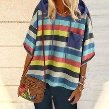 все цены на Striped Batwing Sleeve Women's Hoodie Pullover Casual Plus Size Hooded Sweatshirt Autumn Half Sleeve Loose Pullover Hoodie онлайн