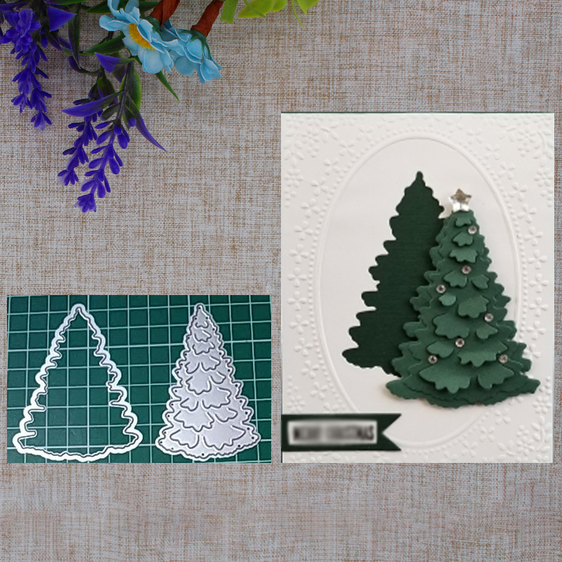 <font><b>2019</b></font> New <font><b>Christmas</b></font> Tree Metal <font><b>Cutting</b></font> <font><b>Die</b></font> <font><b>And</b></font> <font><b>Stamps</b></font> DIY Scrapbooking Card Stencil Photo Album Paper Card Craft Makings image