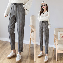 2019 New Women Plaid Harem Pants Spring Summer Elastic Waist Loose Pants Casual Women Trousers Autumn Slim Long Harem Pants new print women golf pants lady long trousers with fleece autumn sports pants for korean style slim elastic pants xs xxl winter
