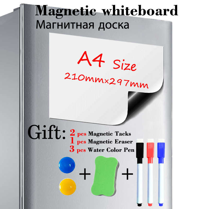 A4 Magnetic Dry Wipe White Note Board Kitchen Fridge Memo Pen Various Colours