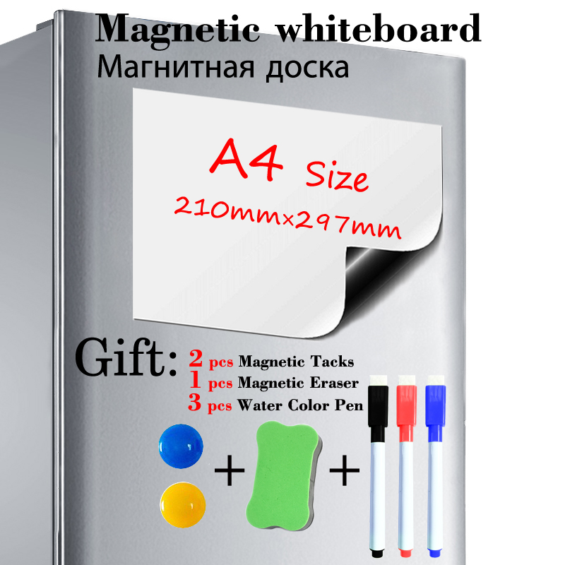 A4 Size Magnetic Whiteboard Fridge Sticker Dry Erase Magnet White Board Kitchen Office Message Board Gift 3 Pen 1 Eraser 2 Tacks