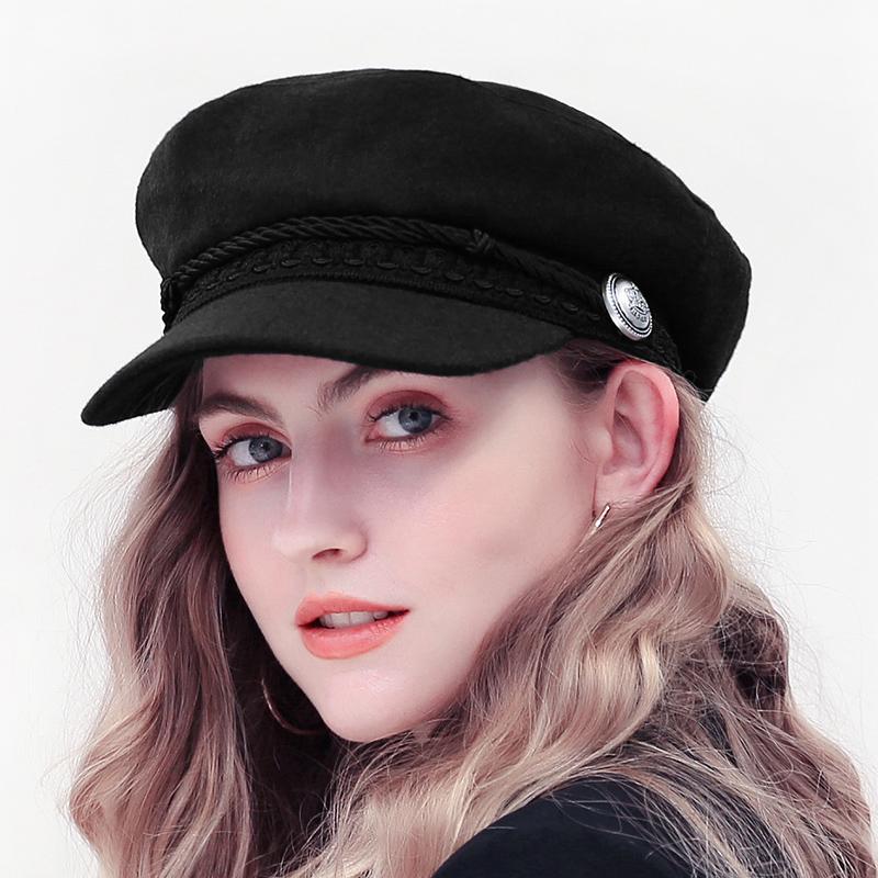 2021 Trend Winter Hats For Women French Style Wool Baker's Boy Hat New Cool Women Baseball Cap Black Visor Hat Gorras Casquette