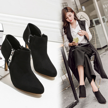 Liren 2019  Spring/Autumn Flock Lady Boots Women Pointed Toe High Thin Heels Zip Fashion Sexy Comfortable Shoes