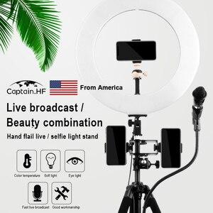 Image 4 - US Captain Selfie Stick Stativ Faltbare & Einbeinstative, LED Ring Licht, Universal Für Smartphones Für Gopro, für Selfie, live Video, Streaming