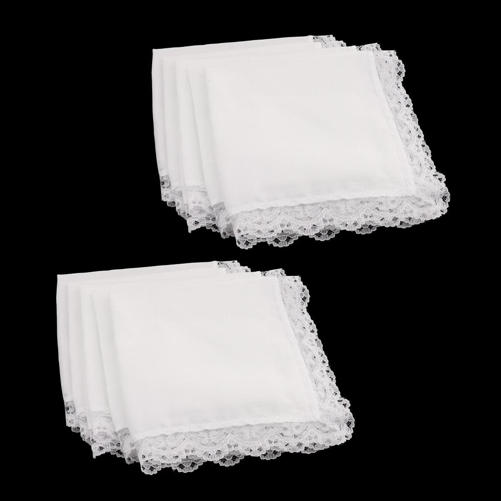 10 Pieces Men Women 100% Cotton White Handkerchiefs Comfy Hanky Party Hankies