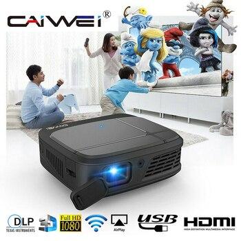 CAIWEI H6W 미니 스마트 폰 프로젝터 DLP 1080P 휴대용 WIFI 배터리 비머 3D 시네마 미러 캐스트 무선 멀티미디어 프로젝터