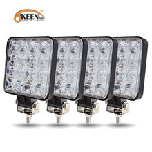 OKEEN – projecteur carré lumière Led bar 48w barre de Led 16, 12V 24V, pour voiture, camion, voiture 4x4 4WD SUV ATV, nouveau, lumière de chantier LED hors piste