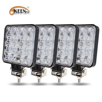 OKEEN New Led light bar 48w 16barra Square Spotlight Off road LED work 12V 24V  For Car Truck 4X4 4WD SUV ATV - discount item  25% OFF Car Lights