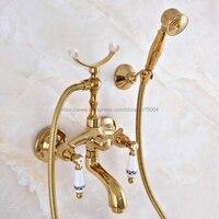 Cor do ouro de Bronze Do Banheiro Banheira Mixer Torneira Estilo Telefone Com Handshower Latão Torneiras Bath & Shower Nna963
