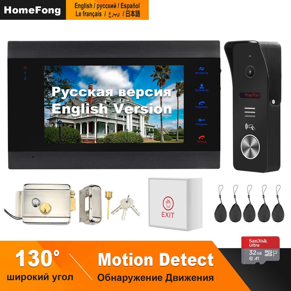 HomeFong 7 inch Video Door phone  System  Support Motion Detect Recording 130° Doorbell Camera for home video doorbell With LockVideo Intercom   -