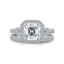 QYI Simulated diamond Female Wedding Rings Luxury senior 925 sterling Silver Women Engagement Jewelry 8*8mm  Asscher Cut