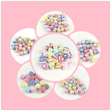 500g/Lot Mixed Candy Color Striped Beads Children DIY Handmade Color Painting Geometry Shape Spacer Beads Jewelry Accessories
