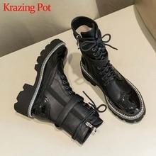Krazing Pot botas impermeables de piel auténtica para mujer, botines de tacón alto con punta redonda, hebilla de cinturón, parte inferior gruesa con cordones, L78