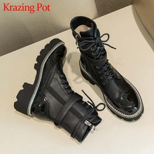 Krazing Pot genuine leather waterproof boots round toe high heels belt buckle winter women thick bottom lace up ankle boots L78