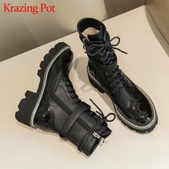Krazing Pot genuine leather waterproof boots round toe high heels belt buckle winter women thick bottom lace up ankle boots L78 krazing pot recommend autumn cow leather wedges thick bottom high heels straw sole pumps lace up mixed color oxford shoes l92