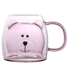 250ml Creative Bear Double Layer Coffee Travel Mug With Handle Cartoon Milk Glass Cup Double Wall Mug Cute Coffee Mugs And Cups