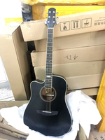 black color 41 inch left hand electric acoustic guitar with electric EQ