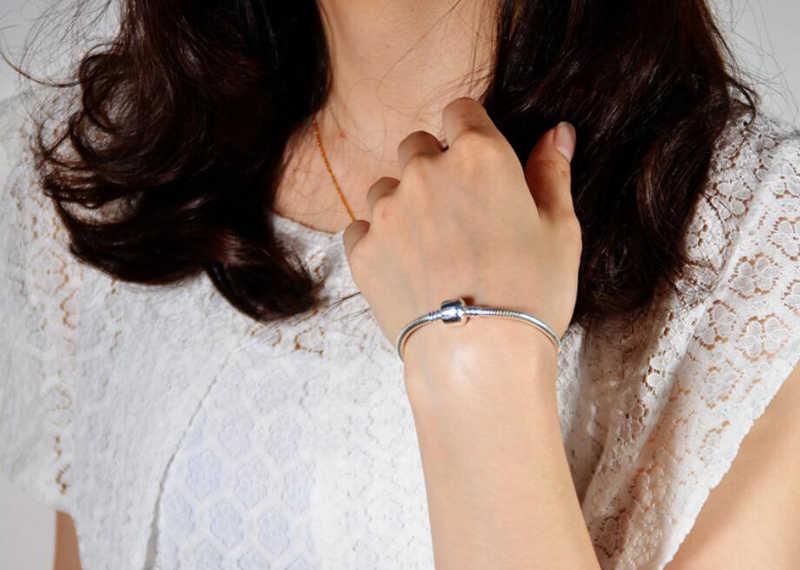 Z certyfikatem wszystkie całe stałe 925 srebrny łańcuszek żmijka łańcuszek Fit oryginalne Charms srebro 925 bransoletka DIY koraliki Pulsera Fine Jewelry