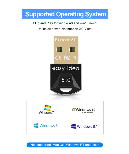 Wireless USB Bluetooth Adapter 5.0 for Computer Bluetooth Dongle USB Bluetooth 4.0 PC Adapter Bluetooth Receiver Transmitter 5