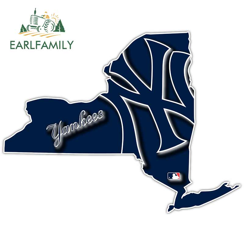 EARLFAMILY 13cm X 10cm Car Stickers For NY New York State Yankees Baseball LOGO Vinyl Sticker Car Bumper Wall Decal Car Styling
