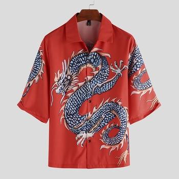 Summer Casual Men Women Shirt Japanese Dragon Print Short Sleeve Shirt Fashion Cardigan Holiday Lapel Button Blouse Streetwear hawaiian shirt male short sleeve casual shirt for men fashion stripe blouse men summer new