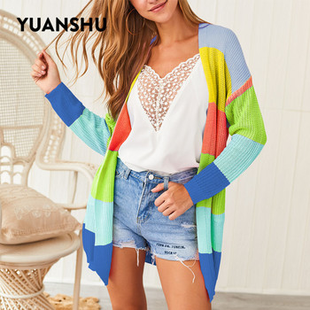 YUANSHU Spring Autumn Rainbow Knitted Cardigan Women Long Sleeve Patchwork Open Front Striped Sweater Women Coat fluted sleeve open front cardigan