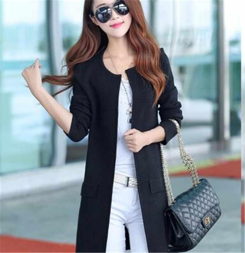 Cárdigan largo para mujer 2019 Otoño Invierno estilo poncho de manga larga para suéter de punto cárdigan mujer suéteres abrigo largo