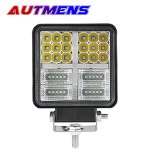 1PCS 4INCH 40W Square LED WORK LIGHT BAR Spot Flood Combo Beam 3000k DRL Amber with  angel eyes off road driving fog lamp n