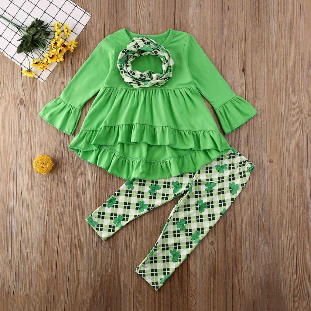 Patrick/'s Day Unicorn Ruffle Tunic Top Dress Clover Pants 2PCS Outfits Girls St