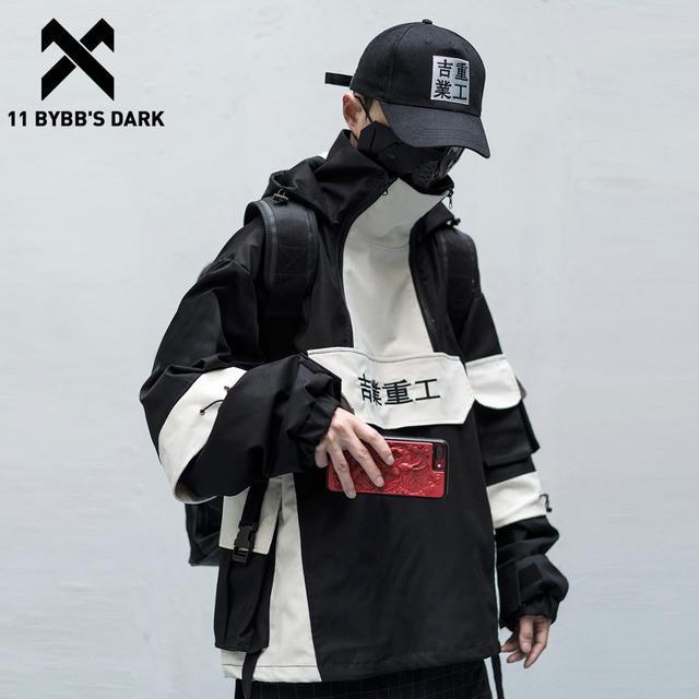 11 BYBB S DARK Patchwork Hip Hop Streetwear Hoodies Men Color Block Mulit Pockets Harajuku Japanese Hooded Jackets Coats