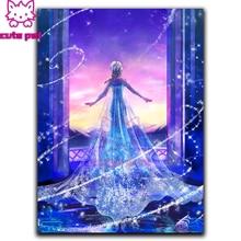 Diy pintura diamante dos desenhos animados gelo princesa diamante bordado completo diamante ponto cruz strass mosaico arte presentes para crianças