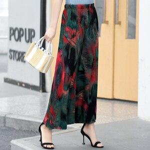 Image 4 - Женские широкие брюки в стиле ретро, повседневные пляжные праздничные брюки с высокой талией и эластичным поясом в богемном стиле, лето 2020