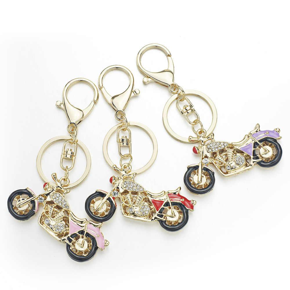 Llaveros Dalaful de motocicleta increíbles llaveros de cristal esmaltado soporte para llavero anillos para el mejor regalo de coche K311