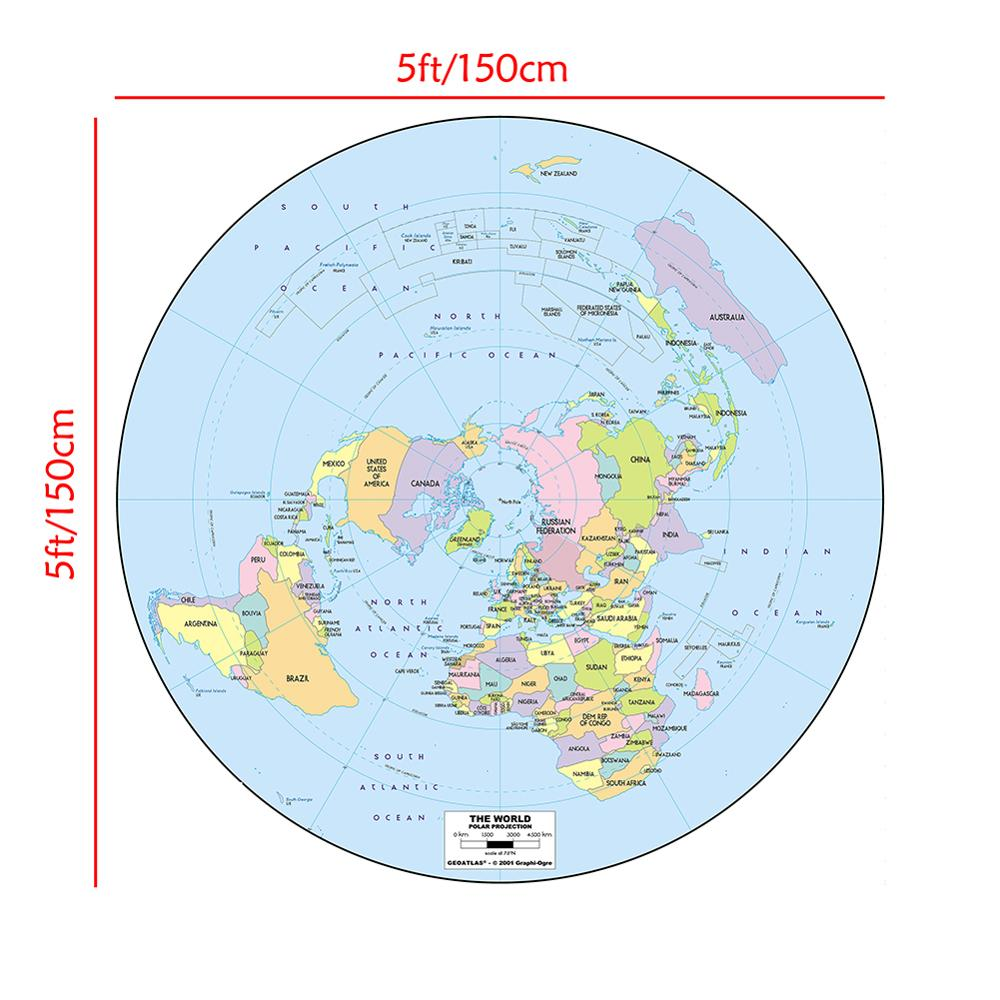 150x150cm Polar Projection World Map Non-woven Waterproof Spray World Map Without  National Flag
