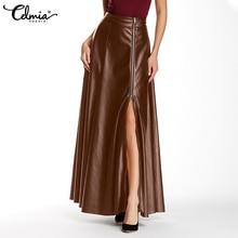 Celmia Split Hem PU Leather Long Faldas Casual Women Solid Color High Waist Jupes 2021 Autumn Fashion Zipper Party Maxi Skirt