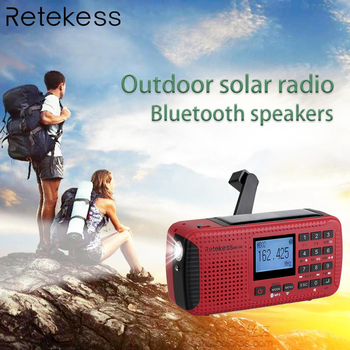 Retekess HR11W FM/AM NOAA Weather Emergency Radio Hand Crank Solar Radio Bluetooth MP3 Player Digital Recorder Portable F9208C