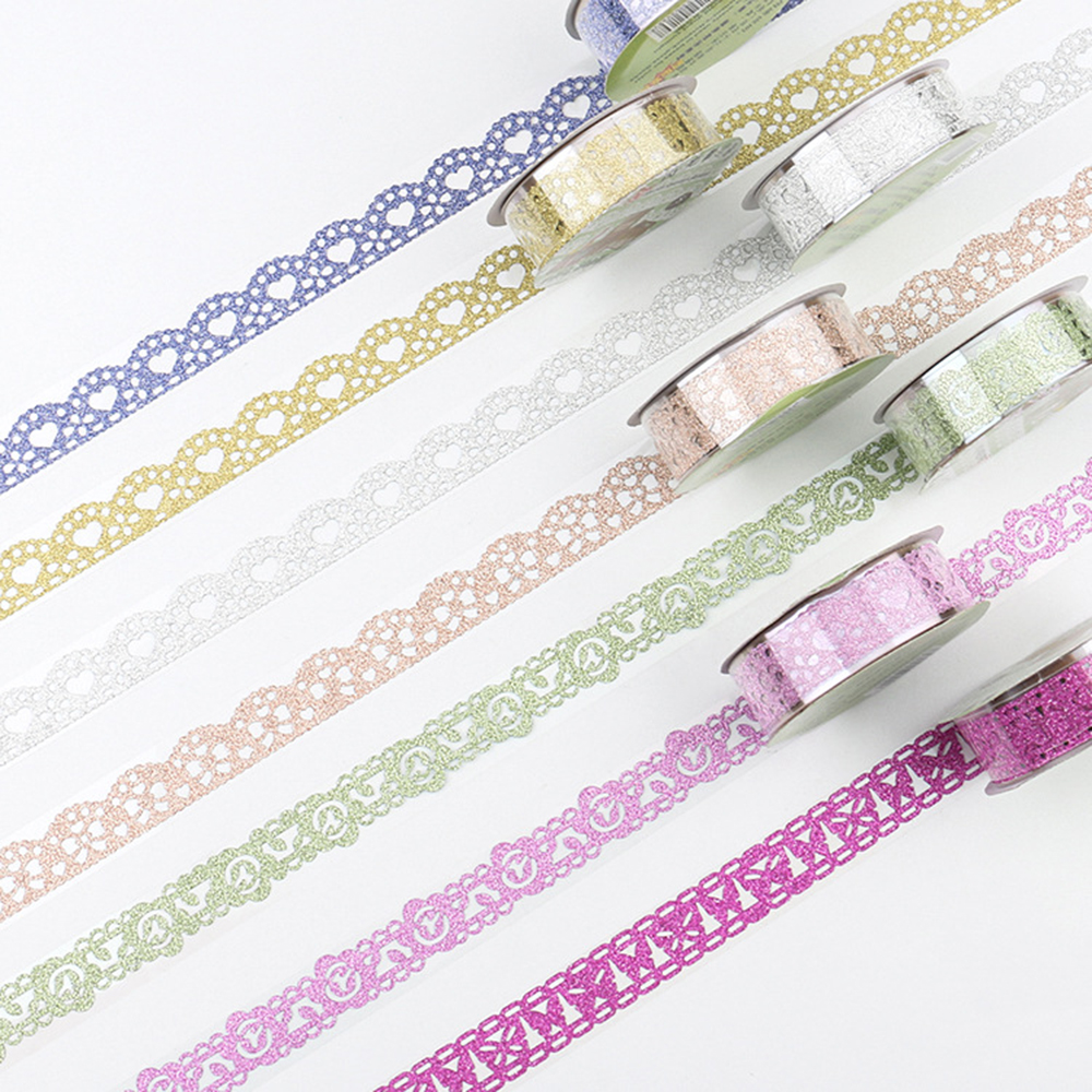 1 Roll  Creative Glitter DIY Washi Masking Tape Self-adhesive Lace Ribbons Sticker Student Scrapbooking Decoration
