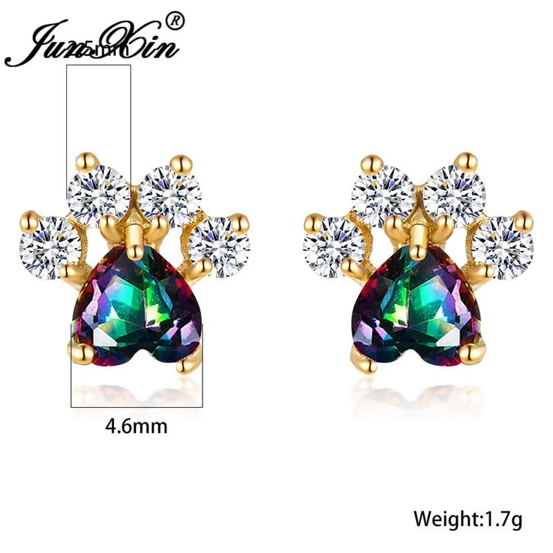 Cute Animal Bear Dog Cat Paw Stud Earrings For Women Rose Yellow Gold Rainbow Stone Heart Earring Wedding Ear Studs Jewelry