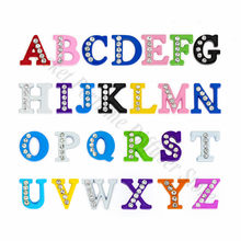 1pc A-Z 8mm Paint half Rhinestone Slide Letters Fit DIY Wristband & Bracelet & Pet Collar Jewelry Making For Women(China)