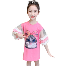 Summer Dresses For Girls Cartoon Cat Girls For Girl Flare Sleeve Dress Kids Teenage Costume Clothes 6 8 10 12 14 Year