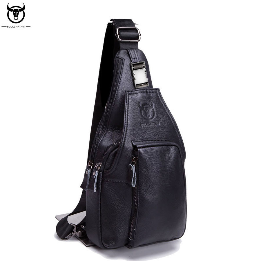 Genuine Leather Crossbody Bag Mens Sling Chest bag Male Messenger Bags