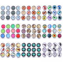 цены Wholesale 10pcs/lot New Mixed Flower Glass Snap 12mm Snaps Buttons for Snaps Jewelry Fit 12mm Snap Button Bracelets