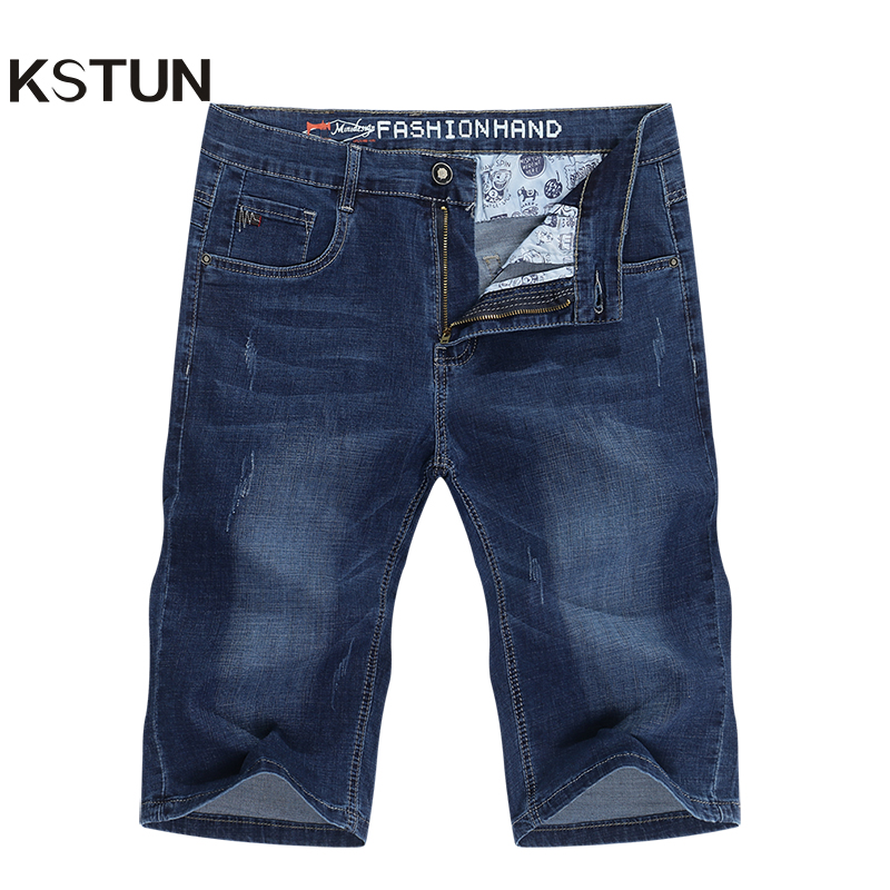 KSTUN Men Jeans Pants Denim Short Jeans Stretch Slim Fit Light Blue Fashion Pockets Designer Man Jeans Brand Shorts Good Quality