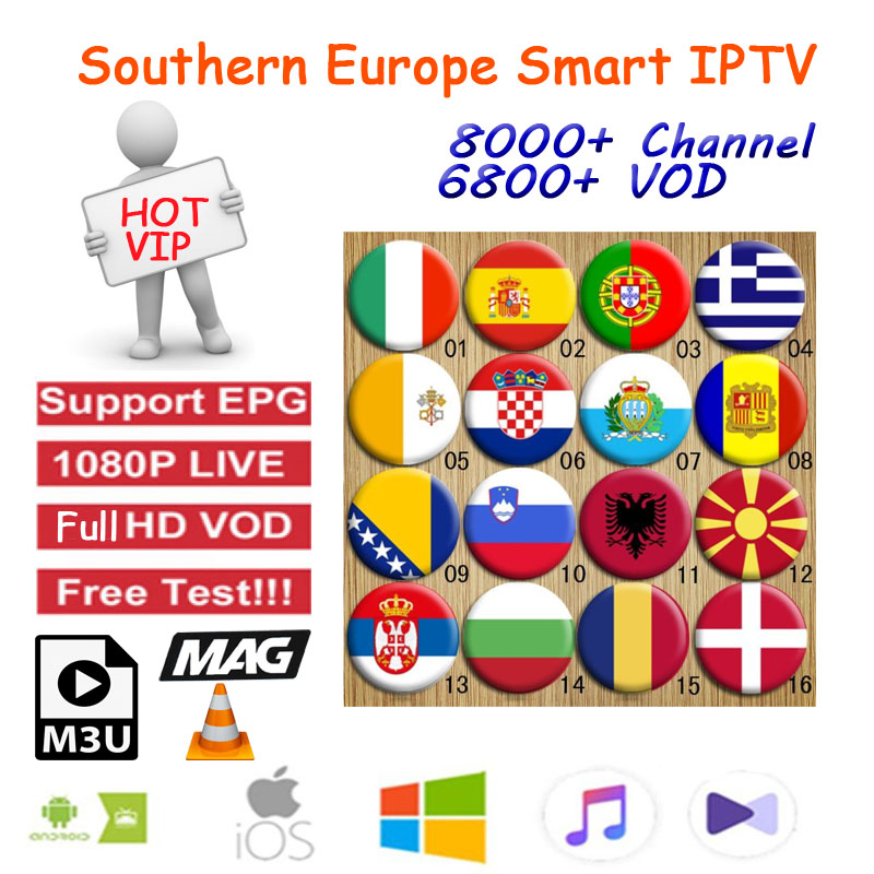 Europe IPTV 1 Year Iptv Subscription South Europe Portugal Spain France Italy Dutch Apply For M3u  MA9 Ssmart TV Android Box