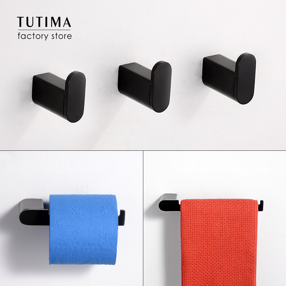 Tutima Matte Black 3-Piece Set Bathroom Accessories 304 Stainless Steel Wall Mount Toilet Paper Holder Towel Bar Ring Robe Hook