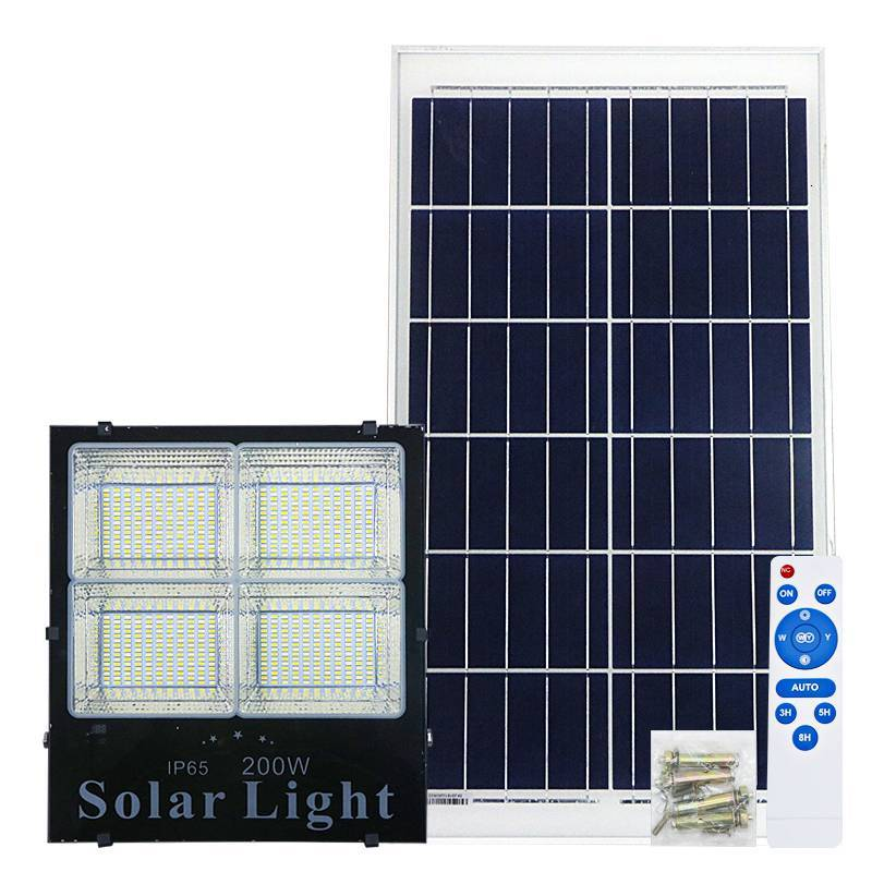 5PCS 2019 New Solar Lamp Dual Emitting Colors 200W LED Solar Gardem Light With Indicator Outdoor Solar Floodlight Spotlight Lamp