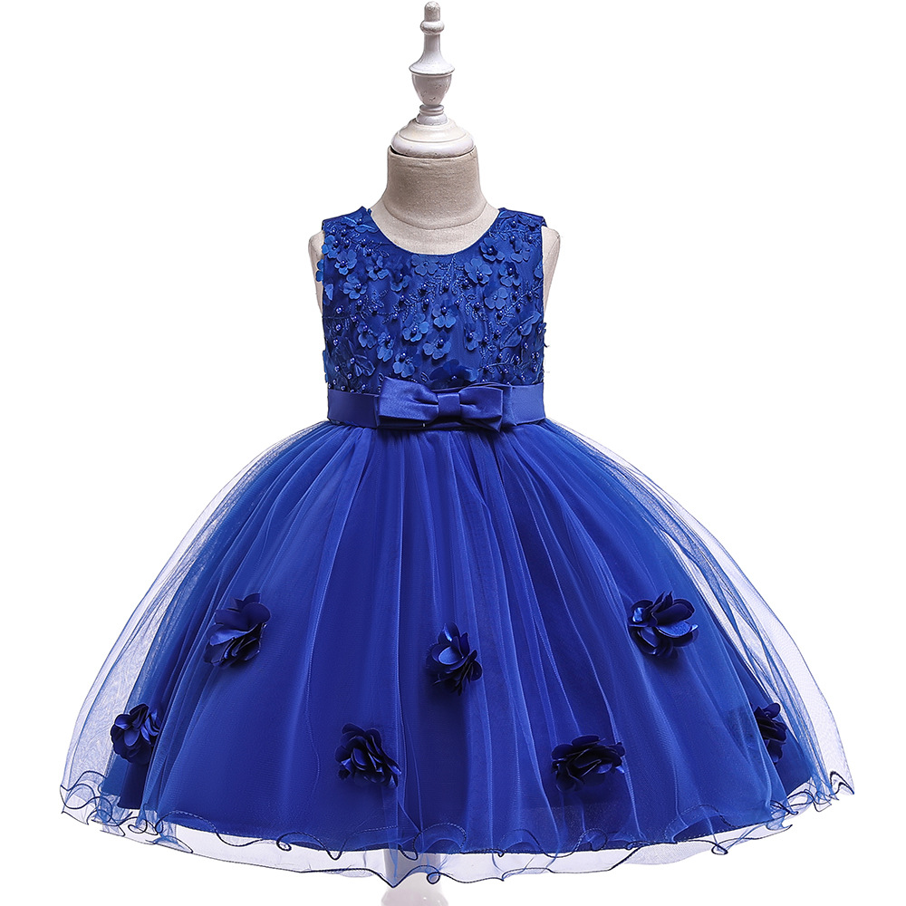 New Style GIRL'S Gown Handmade Beading Princess Skirt Bow Child Formal Dress Stereo Flower Princess Dress