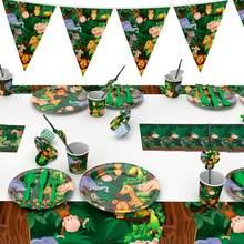 QIFU zielona impreza w stylu Safari jednorazowe talerze kubki Nakpin zwierzę z dżungli zaopatrzenie firm z okazji urodzin Baby Shower Kids dobrodziejstw